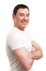 muscular handsome man wearing t-shirt