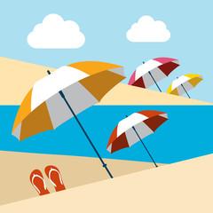 Summer beach with umbrellas. Flat design.