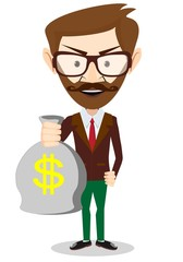 Young smiling businessman holding a bag of money, vector