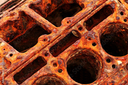 Leinwanddruck Bild rusty engine detail