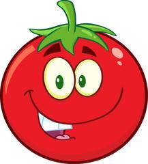 Smiling Tomato Cartoon Mascot Character