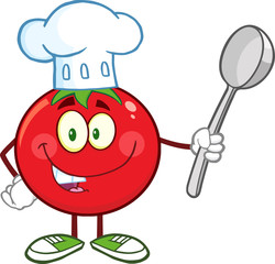 Red Tomato Chef Cartoon Mascot Character Holding A Spoon
