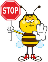 Angry Bee Cartoon Mascot Character Holding A Stop Sign