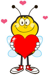 Smiling Bee Cartoon Mascot Character Holding Up A Red Heart