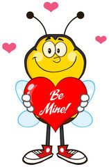 Smiling Bee Cartoon Character Holding Up A Red Heart With Text
