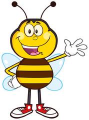 Happy Bee Cartoon Mascot Character Waving