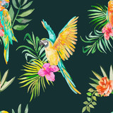Macaw seamless pattern.Palm leaves and tropical flower.