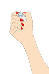 Mano femminile che disegna con un pennarello