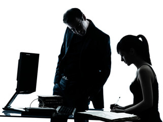 man father teacher student girl teenager homework silhouette