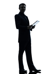 business man  digital tablet  posing silhouette