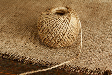 Hank of hemp on burlap close-up