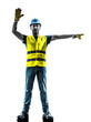 construction worker stop gesture detour silhouette