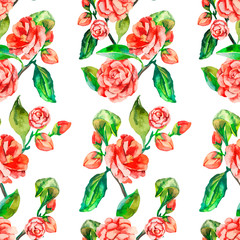Camellia, Rose, Seamless floral pattern.