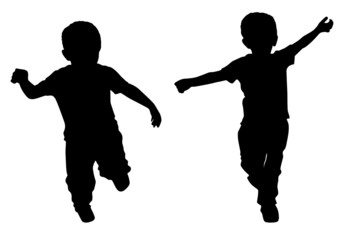 Silhouettes of two little boys who run