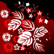 Black and red floral background with leaves and flowers