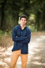 Young man rural scene