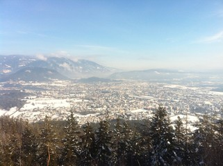 View From Dobratsch To Villach In Winter