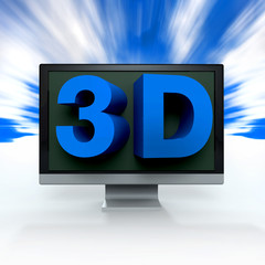 glossy blue word 3D on monitor to illustrate
