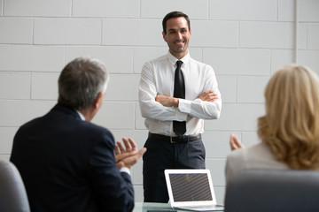 Three businesspeople during a meeting