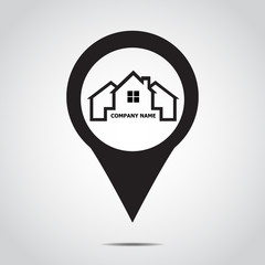 GPS  icon . map pointer Home .  Vector illustration