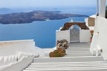 view of volcano caldera with stairs, Santorini