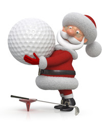 3d Santa Claus golfer