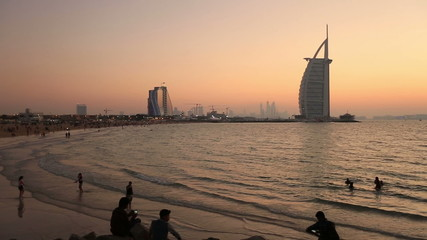 sunset at Jumeriah Beach in Dubai
