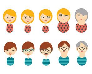 Profile heads. Men, woman aging.