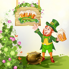 Leprechaun Drinking Beer-St. Patrick's Day Cartoon
