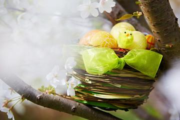 Osternest mit gelben Eiern