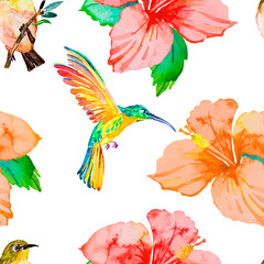 Hibiscus. Tropical plants and birds seamless pattern. Exotic flo