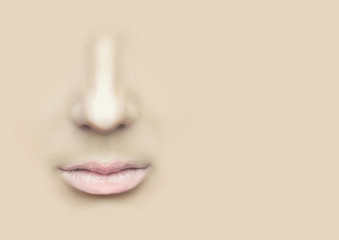Female nose and lips on the physical background.