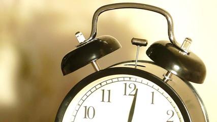 Vintage alarm clock ringing - slow motion