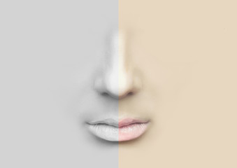 Female nose and lips for illustration.