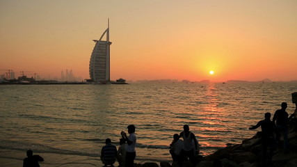 time lapse sunset at Jumeriah Beach in Dubai