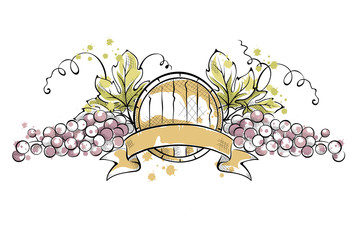 Watercolor illustration -- grape with ribbon and wine cask