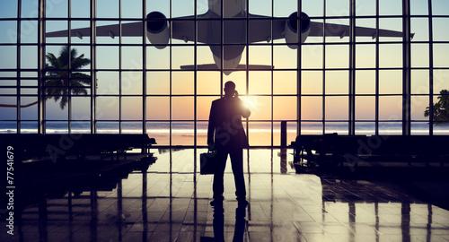 Businessman Airport Travel Waiting Trip Terminal Concept - 77541679