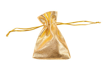 Gold silk bag is a package for gift.