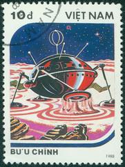 stamp printed in Vietnam shows futuristic Spaceship