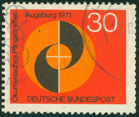 stamp printed in the Germany shows emblem of congress