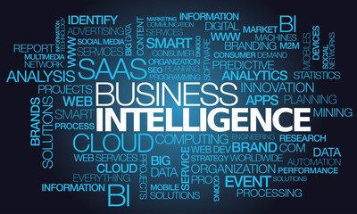 Business Intelligence saas cloud computing words tag cloud text