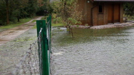 View of a flooded house