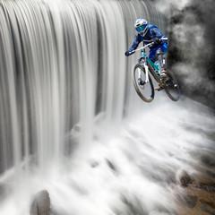 biker & waterfall
