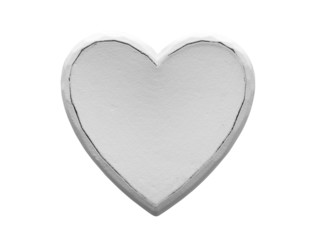 white wooden heart on white