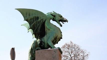 Close shot of a Ljubljana`s dragon statue