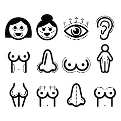 Plastic surgery, beauty vector icons set