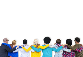 People Rear View Friendship Togetherness Team Concept