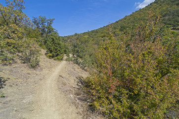 Walking trail in the Crimean mountains.