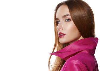 Beauty sexy woman makeup lips glam pink cloak