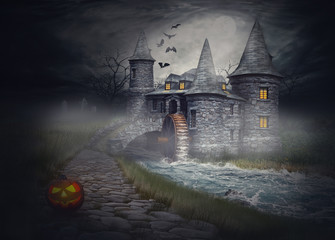 The illustration on the theme of Halloween